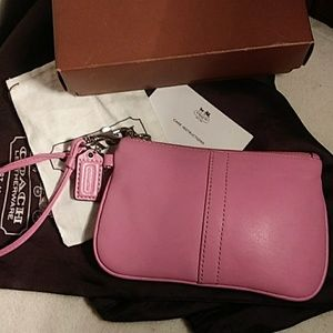 Perfect in Pink Coach All Leather Wristlet